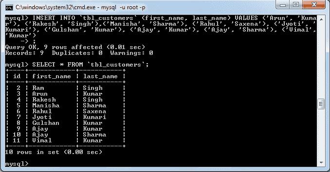 mysql insert data